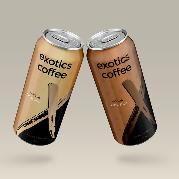 Energy drink label with the title 'Exotics coffe energy drink'