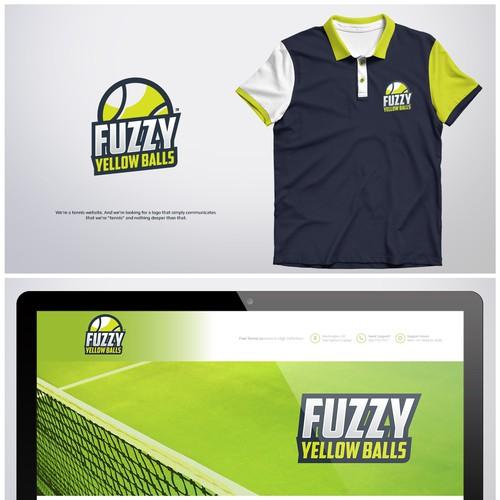Badminton logo with the title 'Fuzzy yellow Balls'