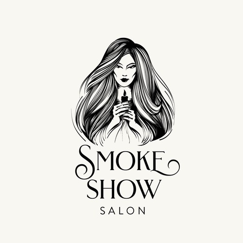 Makeup logo with the title 'Hair salon illustration'