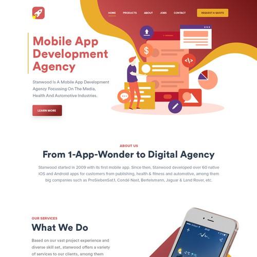 Development website with the title 'Mobile Apps development website design'