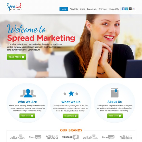 Colorful website with the title 'Spread marketing needs a new website design'