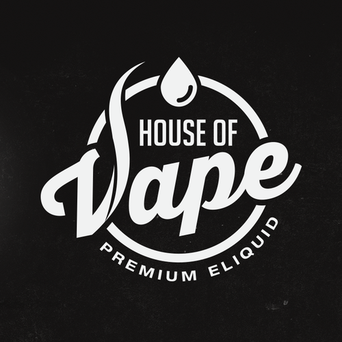 Waterdrop logo with the title 'LOGO DESIGN FOR E-LIQUID COMPANY'