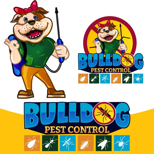 Pest control design with the title 'Bulldog Pest Control'