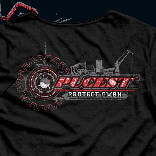 Bold t-shirt with the title 'Distressed Design For PUCEST GmBH'