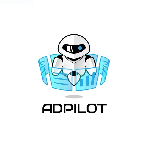 Robot logo with the title 'Robotic logo concept for Adpilot'