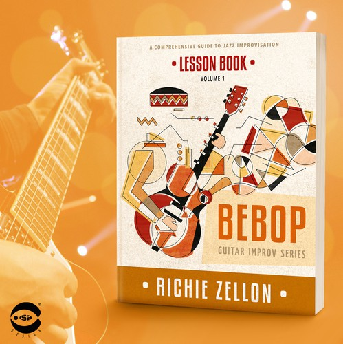 "Music design with the title 'Book cover for ""Bebop – Lesson Book"" by Richie Zellon'"