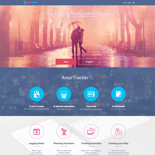 User-friendly website with the title 'AmorTracker website'