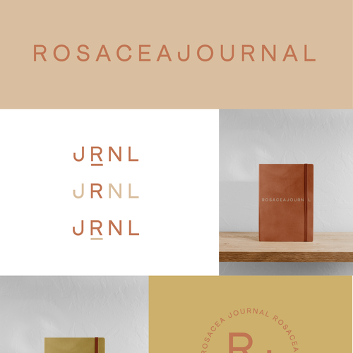 Notebook logo with the title 'A modern Logo Suite for a Skincare Journal Brand'