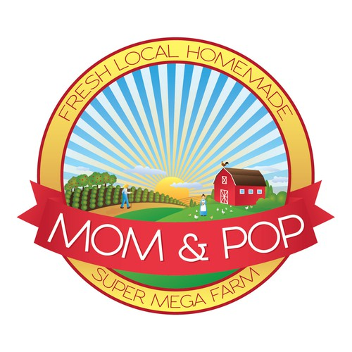 Farmhouse design with the title 'Mom & Pop'