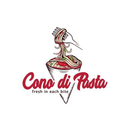 Fast food logo with the title 'Cono di Pasta'