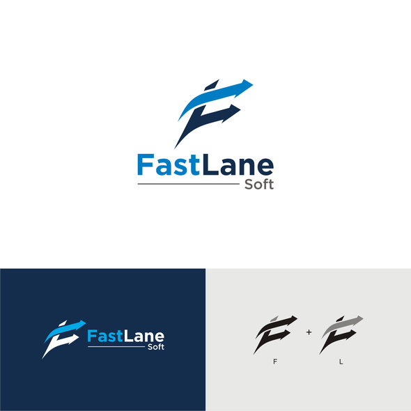 Outsourcing logo with the title 'FAST LANE SOFT - LOGO'