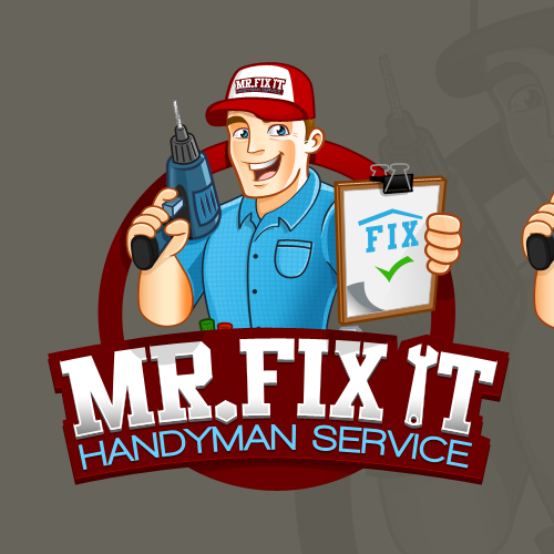 Drill design with the title 'Create the next logo for Mr. Fix It Handyman Services'