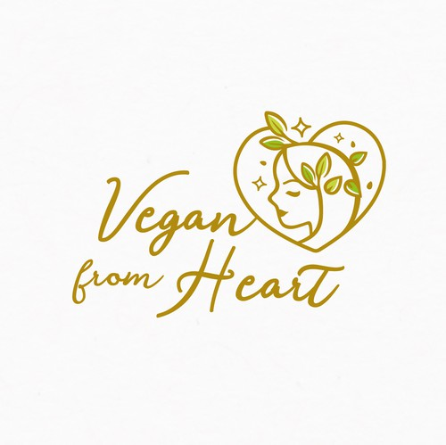 Vegan logo with the title 'Vegan from Heart Logo'