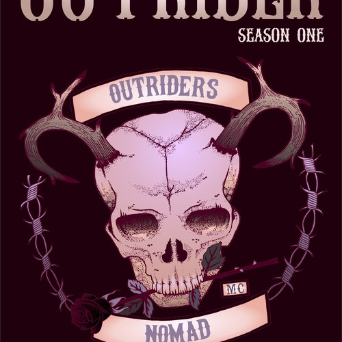 Motorcycle club design with the title 'The Ballad of the Outrider'