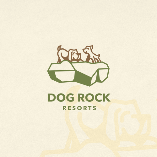 Pet grooming logo with the title 'Dog Rock Resorts'