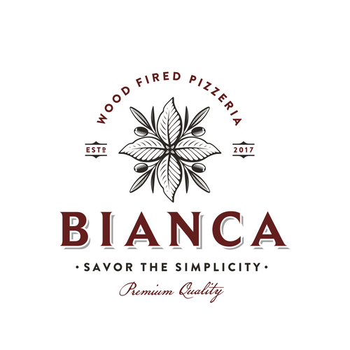 Pizza design with the title 'Bianca'