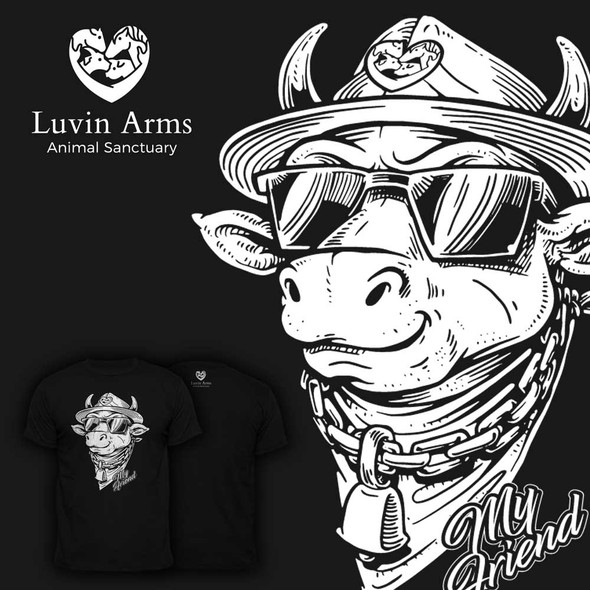 Farm t-shirt with the title 'cow illustration, hand draw (marker)'