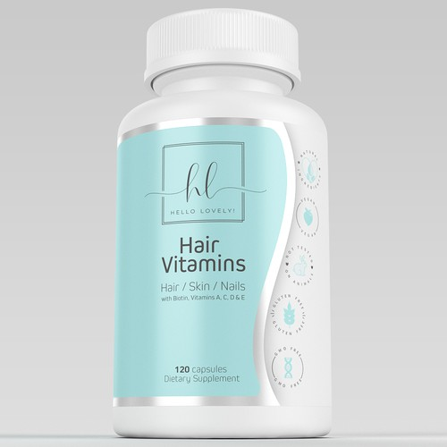Pharmaceutical label with the title 'hair vitamins'