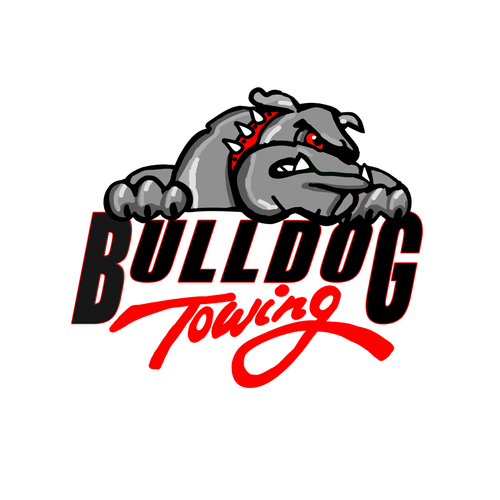Towing logo with the title 'Bulldog Towing Logo'