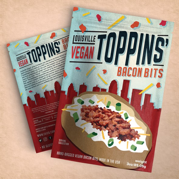 Vegan packaging with the title 'Louisville Vegan Bacon Bits'