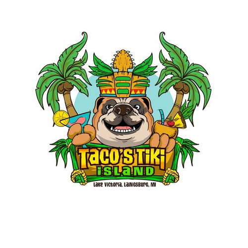 Polynesian logo with the title 'Bulldog tiki cafe'