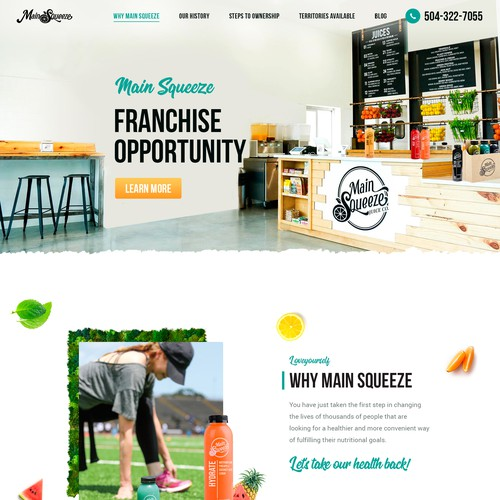 Organic website with the title 'Franchise Website'