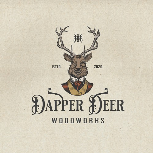 Wood circle logo with the title 'Dapper Deer'