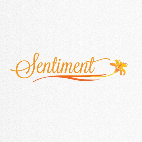 Orange design with the title 'Attractive and elegant logo is wanted for Sentiment Flowers'