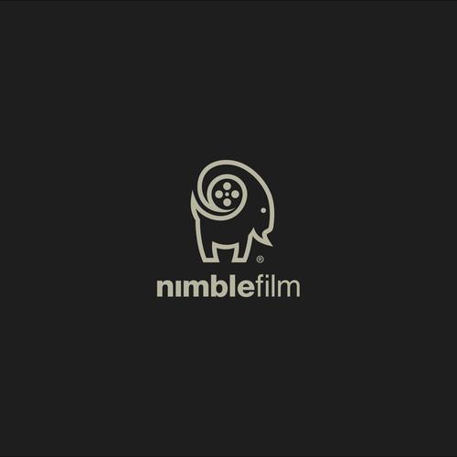 Mountain goat logo with the title 'Nimble film logo'