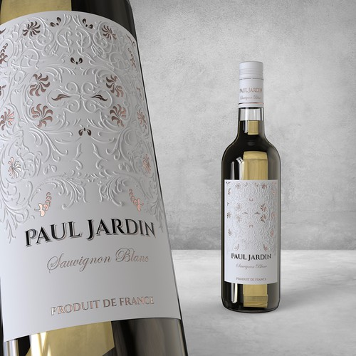 Vintage label with the title 'French wine label for Paul Jardin'