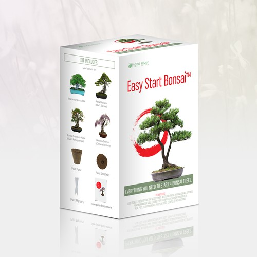 Japanese packaging with the title 'Bonsai kit packaging'