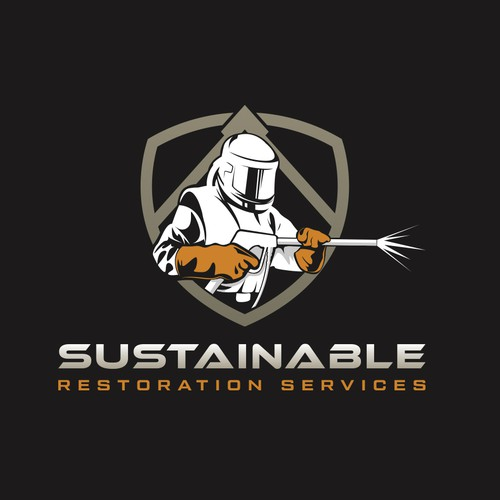 Restoration design with the title 'Dry-ice blasting logo'