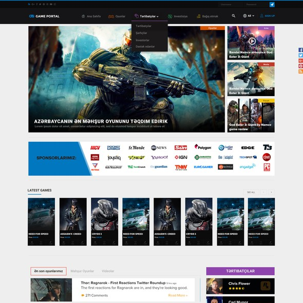 Game website with the title 'Bold Gaming Website Design for Game Portal'