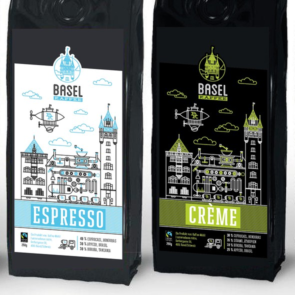 """Pouch label with the title '""""Basel Kaffee"""" a new lable for the best coffee in town. Basel/Switzerland'"""