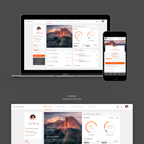 Responsive design with the title 'Insurance Company Portal Design'