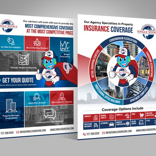 Handout design with the title 'Single Source Insurance - Property Flyer'