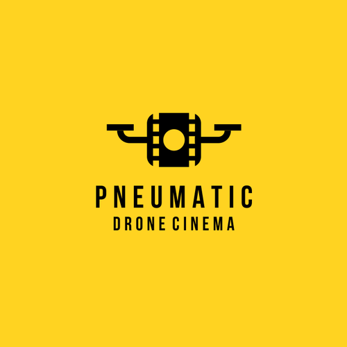 Quadcopter logo with the title 'drone +film sign'