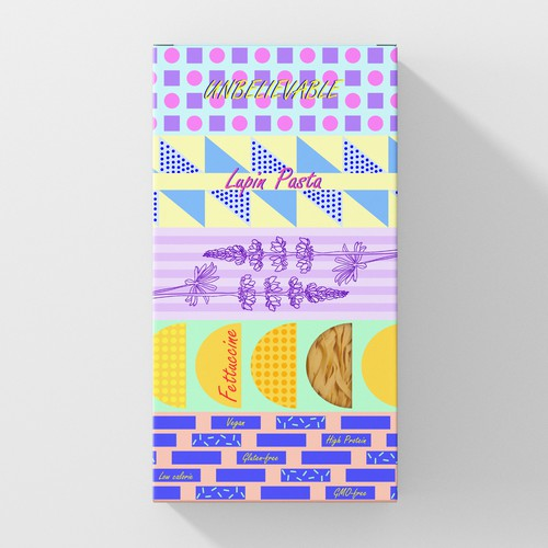 Memphis design with the title 'Box for pasta'