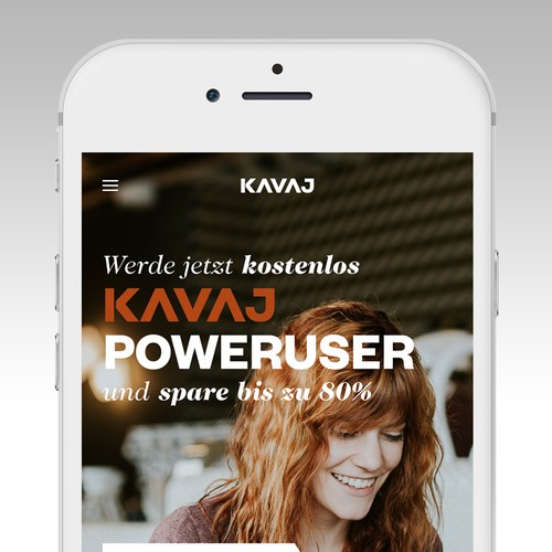 Desktop design with the title 'Landingpage Design | KAVAJ POWERUSER '