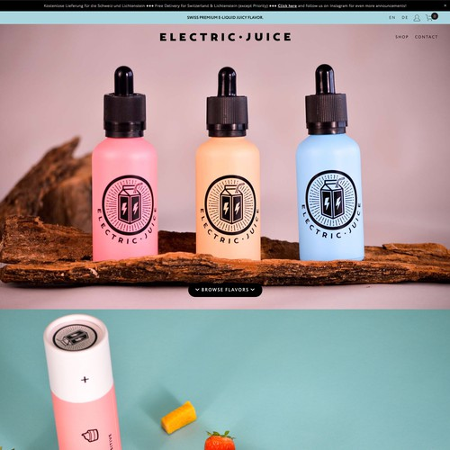 Delivery design with the title 'Electric Juice'