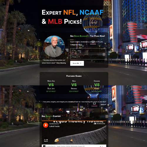 Vegas design with the title 'Live Landing Page'