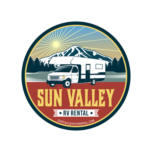 Camper logo with the title 'SUN VALLEY rv rental'