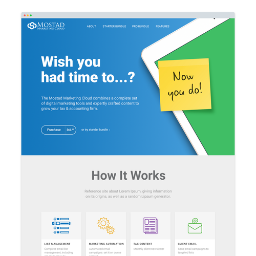 Product page design with the title 'Landing page design'