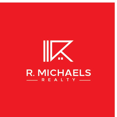Red and black design with the title 'Simple and iconic logo design for R. Michaels Realty'