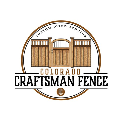 Wood circle logo with the title 'Logo Design for Colorado Craftsman Fence'