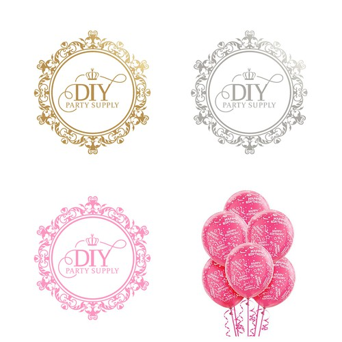 Birthday design with the title 'Looking for a luxury, classic, elaborate, pretty and whimsical logo for a girl's party supply company'