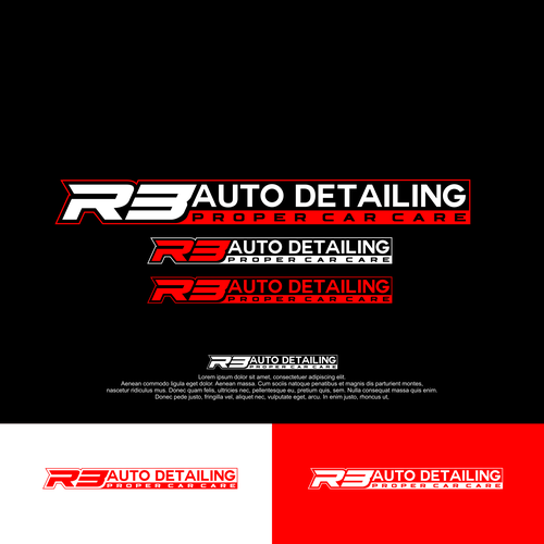 Detailing logo with the title 'R3 AUTO DETAILING'