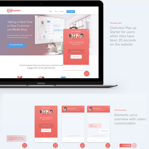 Customer design with the title 'Live chat form'