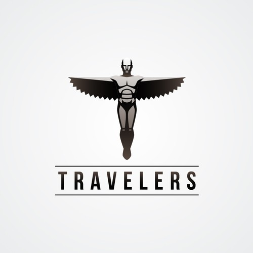 Sculpture logo with the title 'Travelers'