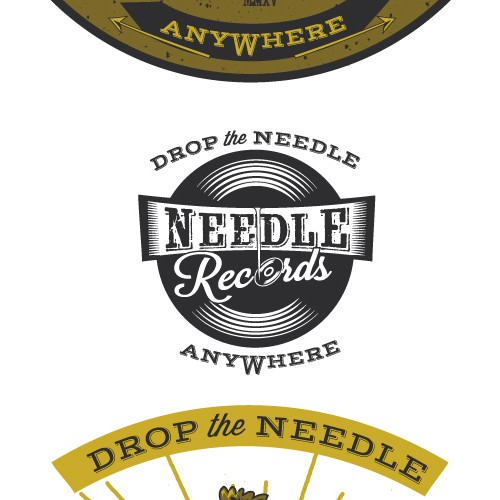 Vinyl record logo with the title 'Vintage logo for Needle Records'